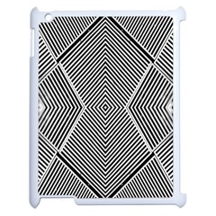Black And White Line Abstract Apple iPad 2 Case (White)
