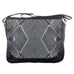 Black And White Line Abstract Messenger Bags