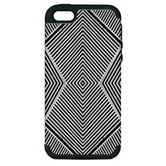 Black And White Line Abstract Apple iPhone 5 Hardshell Case (PC+Silicone)