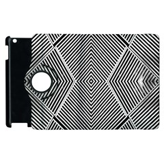 Black And White Line Abstract Apple Ipad 2 Flip 360 Case