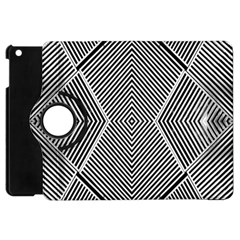 Black And White Line Abstract Apple iPad Mini Flip 360 Case