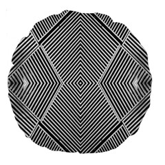 Black And White Line Abstract Large 18  Premium Round Cushions