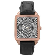 Black And White Line Abstract Rose Gold Leather Watch