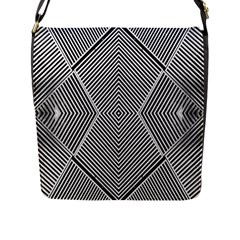 Black And White Line Abstract Flap Messenger Bag (L)