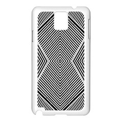 Black And White Line Abstract Samsung Galaxy Note 3 N9005 Case (White)