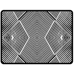 Black And White Line Abstract Double Sided Fleece Blanket (Large)