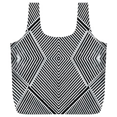 Black And White Line Abstract Full Print Recycle Bags (L)