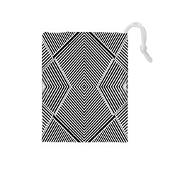 Black And White Line Abstract Drawstring Pouches (Medium)