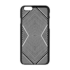 Black And White Line Abstract Apple Iphone 6/6s Black Enamel Case