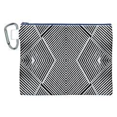 Black And White Line Abstract Canvas Cosmetic Bag (xxl)
