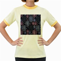 Pixel Pattern Colorful And Glittering Pixelated Women s Fitted Ringer T Shirts