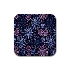 Pixel Pattern Colorful And Glittering Pixelated Rubber Square Coaster (4 pack)