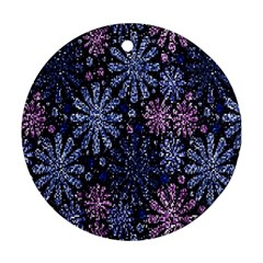 Pixel Pattern Colorful And Glittering Pixelated Round Ornament (Two Sides)