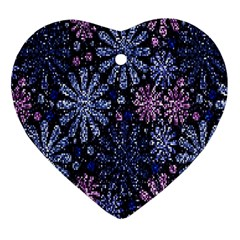 Pixel Pattern Colorful And Glittering Pixelated Heart Ornament (two Sides)