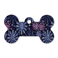 Pixel Pattern Colorful And Glittering Pixelated Dog Tag Bone (One Side)