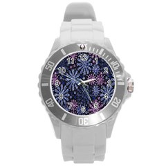 Pixel Pattern Colorful And Glittering Pixelated Round Plastic Sport Watch (L)