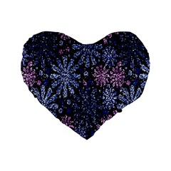 Pixel Pattern Colorful And Glittering Pixelated Standard 16  Premium Flano Heart Shape Cushions