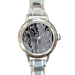 Abstract Swirling Pattern Background Wallpaper Round Italian Charm Watch