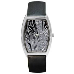 Abstract Swirling Pattern Background Wallpaper Barrel Style Metal Watch