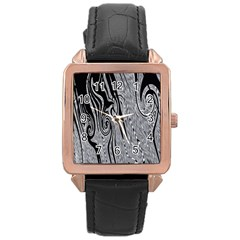 Abstract Swirling Pattern Background Wallpaper Rose Gold Leather Watch