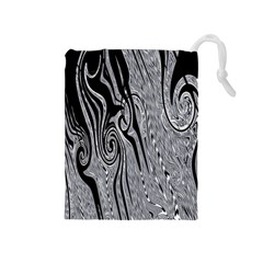 Abstract Swirling Pattern Background Wallpaper Drawstring Pouches (medium)
