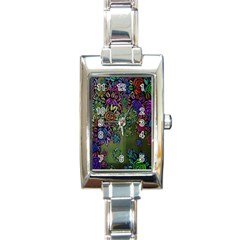 Grunge Rose Background Pattern Rectangle Italian Charm Watch