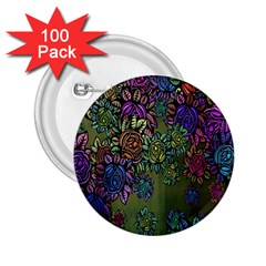Grunge Rose Background Pattern 2 25  Buttons (100 Pack)