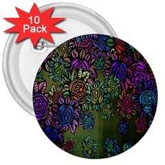 Grunge Rose Background Pattern 3  Buttons (10 pack)