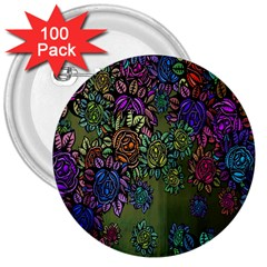 Grunge Rose Background Pattern 3  Buttons (100 Pack)