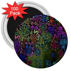 Grunge Rose Background Pattern 3  Magnets (100 pack)