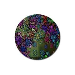 Grunge Rose Background Pattern Magnet 3  (Round)