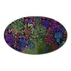 Grunge Rose Background Pattern Oval Magnet