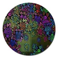 Grunge Rose Background Pattern Magnet 5  (round)