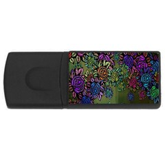 Grunge Rose Background Pattern USB Flash Drive Rectangular (1 GB)