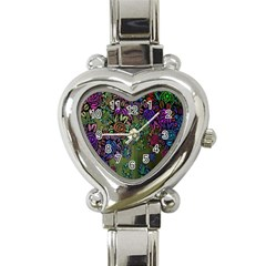 Grunge Rose Background Pattern Heart Italian Charm Watch