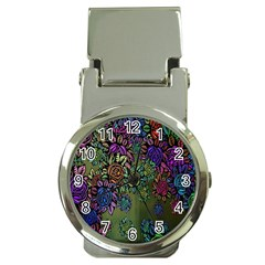 Grunge Rose Background Pattern Money Clip Watches