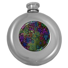 Grunge Rose Background Pattern Round Hip Flask (5 oz)