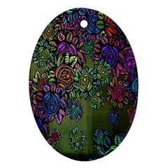 Grunge Rose Background Pattern Oval Ornament (Two Sides)
