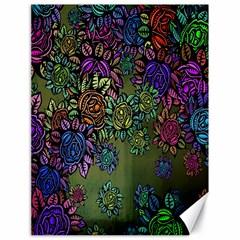 Grunge Rose Background Pattern Canvas 18  x 24