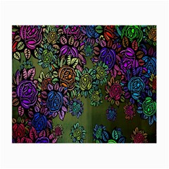 Grunge Rose Background Pattern Small Glasses Cloth (2 Side)