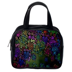 Grunge Rose Background Pattern Classic Handbags (one Side)