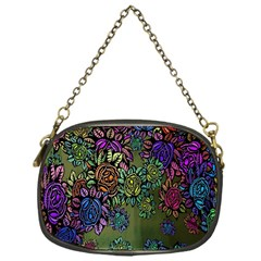 Grunge Rose Background Pattern Chain Purses (One Side)