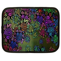 Grunge Rose Background Pattern Netbook Case (XL)