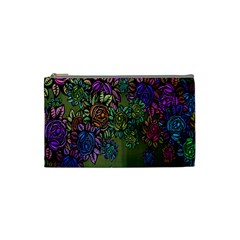 Grunge Rose Background Pattern Cosmetic Bag (Small)
