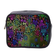 Grunge Rose Background Pattern Mini Toiletries Bag 2-Side