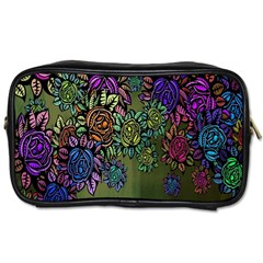 Grunge Rose Background Pattern Toiletries Bags 2 Side