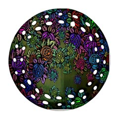 Grunge Rose Background Pattern Round Filigree Ornament (Two Sides)