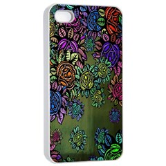 Grunge Rose Background Pattern Apple Iphone 4/4s Seamless Case (white)