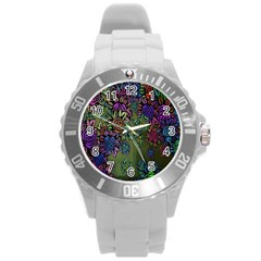 Grunge Rose Background Pattern Round Plastic Sport Watch (L)