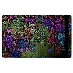 Grunge Rose Background Pattern Apple Ipad 2 Flip Case